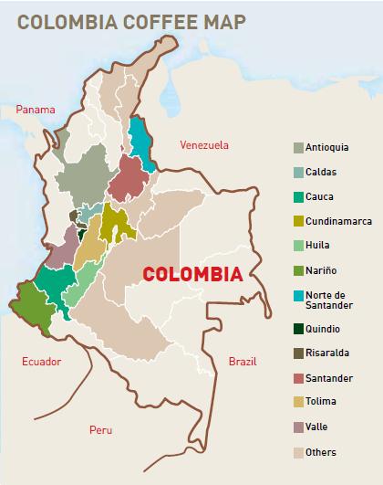 Risultati immagini per colombia coffee map